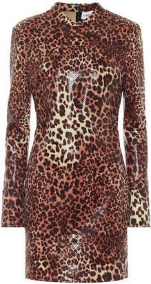 Stand Studio Juno leopard-print faux leather minidress