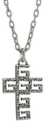 Gucci YB130 G Cube Crystal & Sterling Silver Cross Pendant Necklace