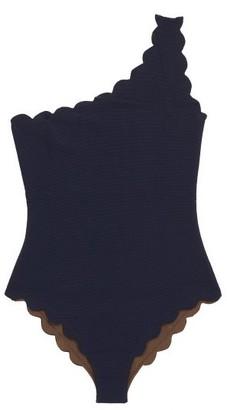 Marysia Swim Santa Barbara Scalloped-edge One-shoulder Swimsuit - Womens - Navy Multi