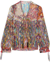 Etro Metallic Printed Fil Coupé Silk-blend Georgette Top - Pink