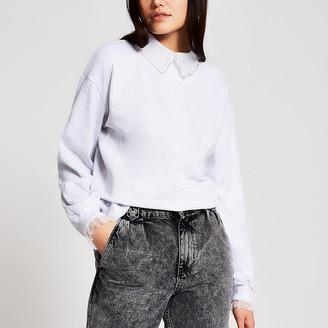 River Island Grey embellished collar sweatshirt