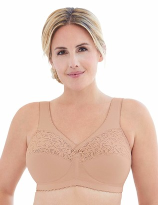 Glamorise Women's Plus Size Full Figure MagicLift Cotton Wirefree Support Bra #1001 Cafe 46H