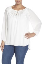 Vince Camuto Shirred Neck Peasant Blouse (Plus Size)