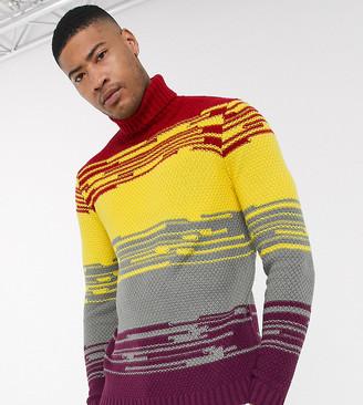 Asos DESIGN Tall roll neck sweater in multi colored stripe