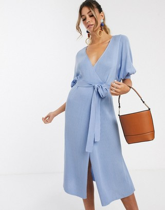 Asos Design DESIGN wrap midi dress in rib knit with volume sleeve-Blue