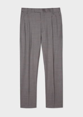 Men's Micro-Check Wool Pleated Trousers