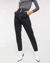 Topshop corset detail mom jeans in washed black