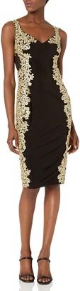 Betsy & Adam Women's Short Emroidered Illusion Dress