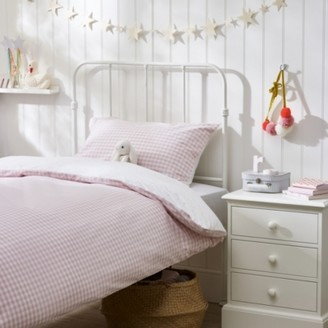 The White Company Reversible Gingham Bed Linen Set, Pink, Cot Bed