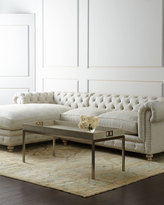 Horchow Warner Linen Left-Chaise Sectional Sofa