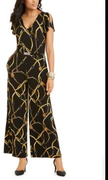 Thalia Sodi Printed Belted Jumpsuit, Created For Macy's