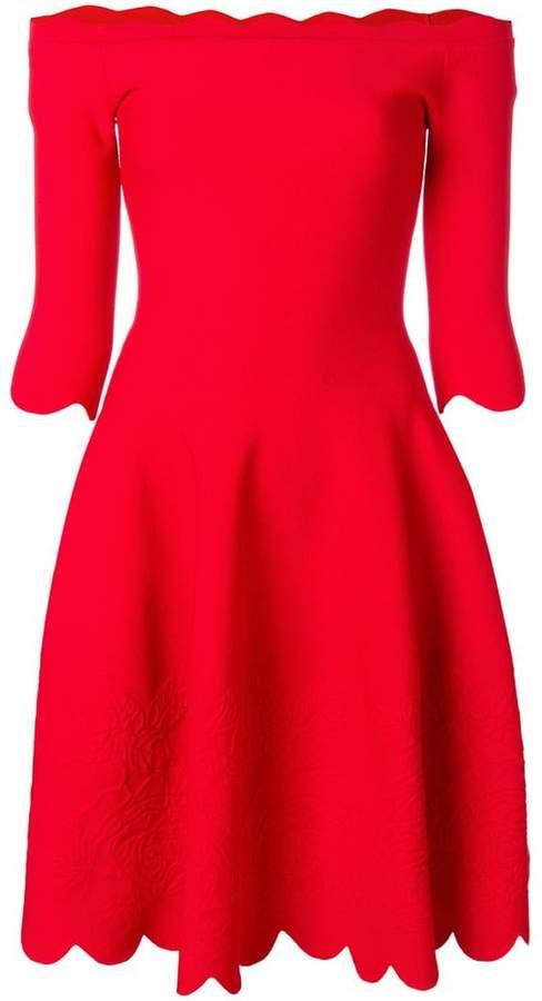 Alexander McQueen scalloped trim bardot dress