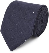 Reiss Hamburg - Linen Dot Tie in Blue, Mens