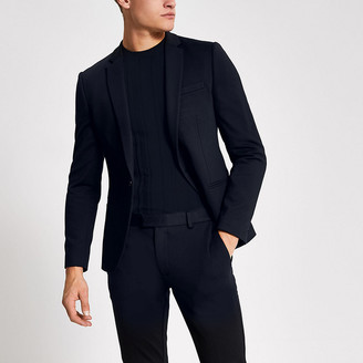 River Island Navy single breasted super skinny suit jacket