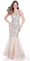 Terani Couture Illusion Crystal Trumpet Prom Dress