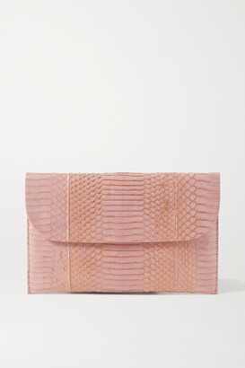 Nancy Gonzalez Envelope Metallic Elaphe Clutch - Blush