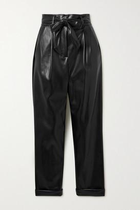 Fleur Du Mal Belted Pleated Vegan Leather Tapered Pants - Black