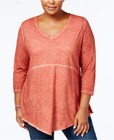 Style&Co. Style & Co Plus Size Cotton Scarf-Hem Top, Created for Macy's