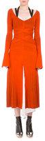Proenza Schouler Long-Sleeve Crisscross-Waist Midi Dress, Orange/Black