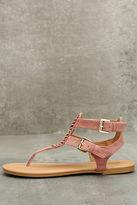 Qupid Draya Mauve Suede Flat Sandals