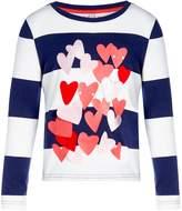 Joules Girls Applique Hearts Stripe Long Sleeve T-Shirt