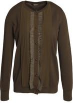Roberto Cavalli Ruffle-Trimmed Silk-Paneled Stretch-Wool Blend Cardigan