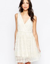 Lavand V Neck Textured Skater Dress