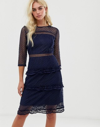 Liquorish layered lace 3/4 sleeve midi dress-Navy
