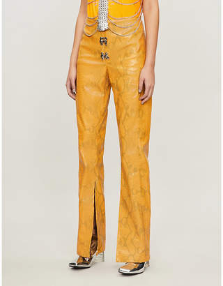 Leo Gaia relaxed-fit faux-snakeskin trousers