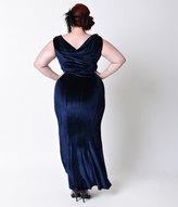 Unique Vintage Plus Size 1930s Style Navy Blue Sleeveless Velvet Goldwyn Gown