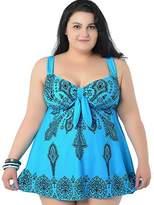 GSHappyGo Women's Plus Size Swimdress & Boyshorts Floral Swimwear Bathing Suit
