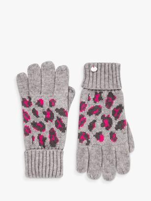 Joules Trissy Leopard Print Gloves, Grey/Multi