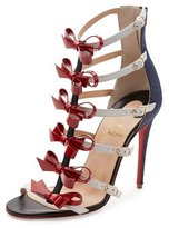 Christian Louboutin Girlystrappi Bow 100mm Red Sole Sandal, Multicolor