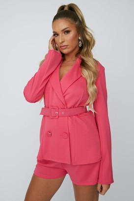 Paper Dolls Little Mistress x Zara McDermott Hot Pink Double-Breasted Belted Blazer Co-ord