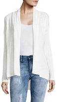 Two By Vince Camuto Petite Linen Drape-Front Cardigan