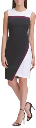 Tommy Hilfiger Asymmetrical Hem Scuba Sheath Dress