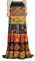 Alice + Olivia Athena Embroidered Lace-Inset Maxi Skirt