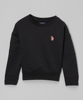 U.S. Polo Assn. Black Quilted Crewneck Top - Girls