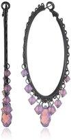 Liz Palacios Cyclamen Opal Crystal Drops Hoop Earrings