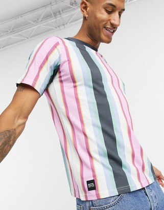 NATIVE YOUTH vertical stripe t-shirt in blue and pink