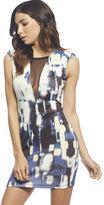 Arden B Blurred City Print Plunging Dress