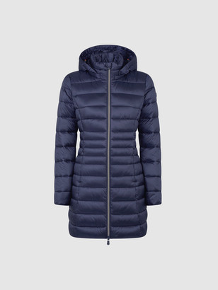 Save The Duck Women's Hooded Coat in IRIS Stand-up Collar with Detachable Hood