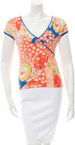 Blumarine Printed V-Neck Top