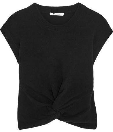 Alexander Wang Cropped Twist-front Wool And Cashmere-blend Sweater - Black