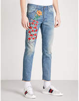 Gucci Snake-embroidered Straight Cropped Jeans
