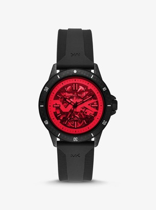 Michael Kors Bayville Silicone and Red Crystal Skeleton Watch