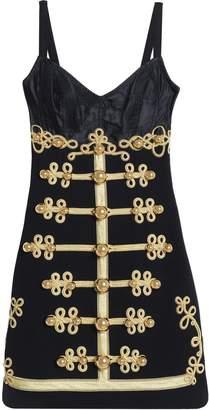 Dolce & Gabbana Satin-paneled Embellished Wool-blend Twill Mini Dress