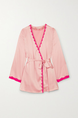 Morgan Lane - Langley Lace-trimmed Silk-blend Charmeuse Robe - Antique rose