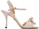 Dolce & Gabbana Pink Bow Tie Strap Heeled Sandals