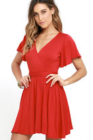 LuLu*s Day Date Coral Red Skater Dress
